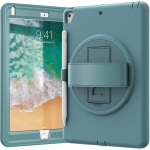 360 Degree Rotation PC+TPU Protective Cover with Holder & Hand Strap & Pen Slot For Apple iPad Air(Emerald Blue)