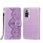 For Xiaomi Redmi Note 10 Pro Flower Vine Embossing Pattern Horizontal Flip Leather Case with Card Slot & Holder & Wallet & Lanyard(Purple)