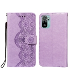 For Xiaomi Redmi Note 10 4G Flower Vine Embossing Pattern Horizontal Flip Leather Case with Card Slot & Holder & Wallet & Lanyard(Purple)