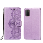 For Xiaomi Redmi 9T Flower Vine Embossing Pattern Horizontal Flip Leather Case with Card Slot & Holder & Wallet & Lanyard(Purple)