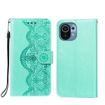 For Xiaomi Mi 11 Flower Vine Embossing Pattern Horizontal Flip Leather Case with Card Slot & Holder & Wallet & Lanyard(Green)
