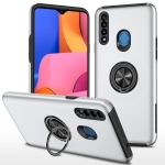 For Samsung Galaxy A20s PC + TPU Shockproof Magnetic Protective Case with Invisible Ring Holder(Silver)