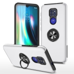For Motorola Moto G9 / G9 Play PC + TPU Shockproof Magnetic Protective Case with Invisible Ring Holder(Silver)