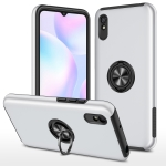 For Xiaomi Redmi 9A PC + TPU Shockproof Magnetic Protective Case with Invisible Ring Holder(Silver)