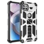 For Motorola Moto One 5G Ace Shockproof TPU + PC Magnetic Protective Case with Holder(Silver)
