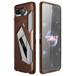 For Asus ROG Phone 5 Carbon Fiber Texture Shockproof TPU Case(Brown)