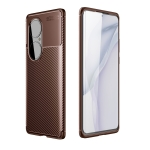 For Huawei P50 Pro Carbon Fiber Texture Shockproof TPU Case(Brown)