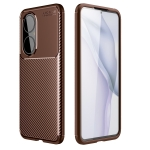 For Huawei P50 Carbon Fiber Texture Shockproof TPU Case(Brown)
