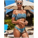 Tropical Print Sexy Tube Top with Sleeves Swimsuit Two Suit, Model:XL