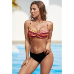 Women Sexy Temptation Striped Swimsuit Two Suit, Size:XXL(Multicolour)