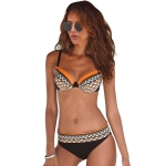 Women Sexy Printed Swimsuit Two Suit, Size:XL(Orange)