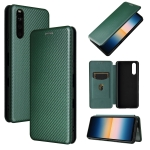 For Sony Xperia 10 III Carbon Fiber Texture Magnetic Horizontal Flip TPU + PC + PU Leather Case with Card Slot(Green)
