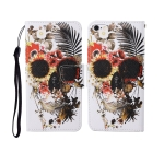 For iPhone 6 Painted Pattern Horizontal Flip Leathe Case(Skull)