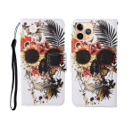 For iPhone 11 Pro Painted Pattern Horizontal Flip Leathe Case(Skull)
