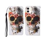 For iPhone 12 mini Painted Pattern Horizontal Flip Leathe Case(Skull)
