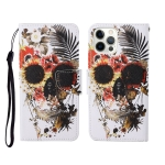 For iPhone 12/12 Pro Painted Pattern Horizontal Flip Leathe Case(Skull)