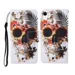 For iPhone XR Painted Pattern Horizontal Flip Leathe Case(Skull)
