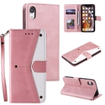 Stitching Calf Texture Horizontal Flip Leather Case with Holder & Card Slots & Wallet For iPhone XS / X(Rose Gold)