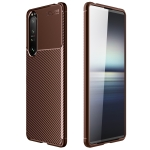For Sony Xperia 1 III Carbon Fiber Texture Shockproof TPU Case(Brown)