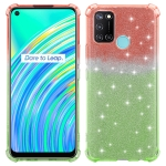 For Realme C17 Gradient Glitter Powder Shockproof TPU Protective Case(Orange Green)