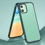 SULADA Luxury 3D Carbon Fiber Textured Shockproof Metal + TPU Frame Case For iPhone 11(Dark Green)