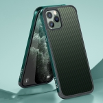 SULADA Luxury 3D Carbon Fiber Textured Shockproof Metal + TPU Frame Case For iPhone 11 Pro(Dark Green)