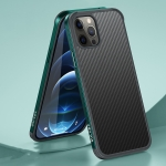 SULADA Luxury 3D Carbon Fiber Textured Shockproof Metal + TPU Frame Case For iPhone 12 / 12 Pro(Dark Green)