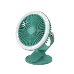 WK WT-F18 Desktop Portable Clip Fan with Ring Light(Green)