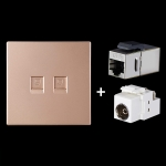 CAT.6 Shielded Pass-through Network Module, Dual Ports Panel + Shielded Pass-through + TV Socket (Gold)