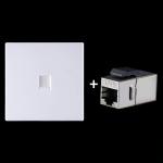 CAT.6 Shielded Pass-through Network Module, Single Port Panel + Shielded Pass-through(White)