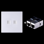 CAT.6 Shielded Pass-through Network Module, Dual Ports Panel + Shielded Pass-through (White)