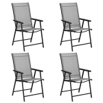 [US Warehouse] 4 PCS Portable Patio Folding Chairs with Armrest