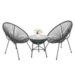 [US Warehouse] 3 in 1 Weaving Rattan Patio Bistro Furniture Set