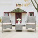 [US Warehouse] 3 in 1 Steel Frame PE Wicker Chair with Cushion + Coffee Table Outdoor Furniture Set