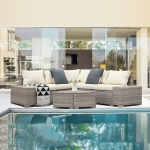 [US Warehouse] 6 in 1 PE Rattan Free Combination Five-seater Sofa with Cushion + Fan-shaped Coffee Table Outdoor Patio Furniture Set