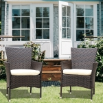 [US Warehouse] 2 PCS Patio Steel Frame PE Wicker Chair with Armrests & Removable Cushion
