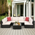 [US Warehouse] 23 in 1 PE Rattan Sectional Cushioned Free Combination Sofa Outdoor Garden Terrace Furniture Set with Pillows & Coffee Table (Dark Coffee + Beige)