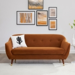 [US Warehouse] Velvet Sofa with Wide Flared Armrests, Size: 66.92 x 32.67 x 31.88 inch(Curry Color)