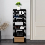 [US Warehouse] 7-layer Widened Corner Wooden Shoe Rack Storage Shelf, Size: 43.5 x 17.91 x 10.63 inch