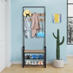 [US Warehouse] 2 in 1 Steel-wood Three-layer Shoes Rack with 9 Hooks, Size: 72.83 x 28.35 x 13.38 inch