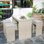 [US Warehouse] 5 PCS / Set Outdoor Rattan Patio Bar Dining Table Furniture Set with 4 Stools (Brown)