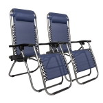 [US Warehouse] 2 PCS Plum Blossom Lock Portable Folding Chairs, Size: 175x66x111cm (Blue)