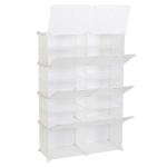 [US Warehouse] 2 Rows 7 Layers 14 Grids Free Assembly DIY Lattice Shoe Rack Organizer Storage Rack Tower Shelf Storage Cabinet Stand (White)