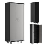 [US Warehouse] Household Galvanized Iron Tool Storage Cabinet, Size: 182x82x41cm (Black Grey)