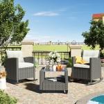 [US Warehouse] 3 PCS /Set Outdoor Patio Wicker Rattan Coffee Table Furniture Set (Beige)