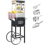 [US Warehouse] 850W 120V-60Hz 8oz Retro Single Door Popcorn Machine with Cart, Size: 65x44x152cm