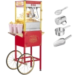 [US Warehouse] 120V-60Hz 850W 8oz Double Door Large Capacity Retro Popcorn Machine with Cart, Size: 77x52x152cm