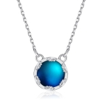 S925 Sterling Silver Gradient Round Moonstone Clavicle Chain Nacklace Jewelry (Multicolor, Night Turn Dark Blue)