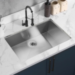 [US Warehouse] Stainless Steel Single Bowl Kitchen Sink, Size: 33 x 21 x 10 inch