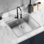 [US Warehouse] Stainless Steel Single Bowl Kitchen Sink with Chopping Board, Size: 28 x 22 x 9 inch